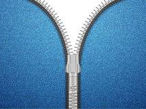 Denim open zipper Royalty Free Stock Images