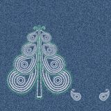 Denim Paisley Tree Stock Image