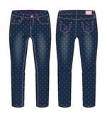 Denim pants with all over polka dots print. Front and back view of denim pants with all over polka dots print vector illustration
