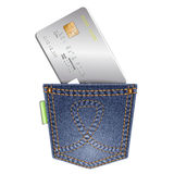 Denim pocket with credit card on a white background. Royalty Free Stock Images