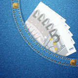 Denim pocket and five euro banknotes Stock Photos