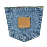 Denim Pocket with Leather Tag Royalty Free Stock Photos