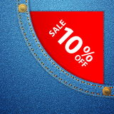 Denim pocket and sale ten off Stock Photography