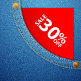 Denim pocket and sale thirty off Royalty Free Stock Photos