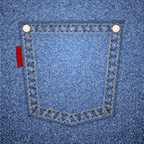 Denim pocket with tag. Royalty Free Stock Images