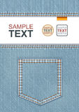 Denim With Pocket. Vector Design Of A4 Flyer, Cover Or Poster Template. Realistic Closeup Denim With Pocket Decoration Royalty Free Stock Images