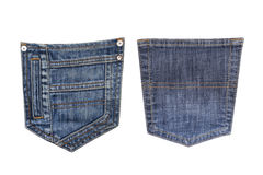 Denim pockets on a white background royalty free stock photography