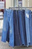 Denim at Rail. Blue Jeans Denim Pants at Rail Outside royalty free stock photography