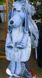 Denim rucksack dog royalty free stock image