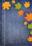 Denim scrapbook background with autumn leaves Royalty Free Stock Image