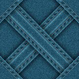 Denim seamless pattern is divided ribbons sewn into four zones. Royalty Free Stock Photo