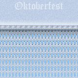 Denim seamless texture with white and blue rhombus Argyle pattern and lace mesh. Oktoberfest beer festival background. royalty free illustration