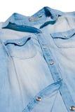 Denim shirt close up on white background Stock Photos