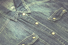 Denim shirt. Vintage denim shirt with pockets stock photography