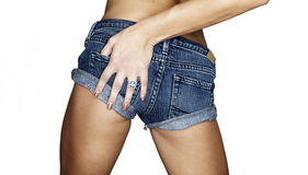 Denim short girl Stock Photo