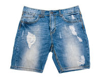 Denim shorts. Ripped denim shorts isolated on white background Royalty Free Stock Photography