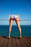 Denim Shorts. Backside of Beautiful Sexy Girl Royalty Free Stock Photo
