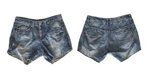 Denim shorts for female isolated on white royalty free stock photography