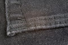 Denim shorts under magnification. Trouser zipper, belt loops and royalty free stock photo