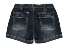 Denim shorts on white background Royalty Free Stock Photo