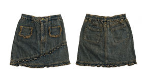 Denim skirt, front and rear on white Royalty Free Stock Image