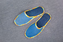 Denim slippers Royalty Free Stock Photography