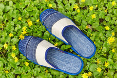 Denim slippers Stock Image