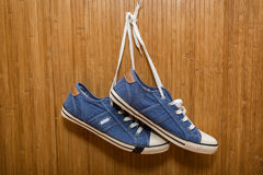 Denim sneakers Stock Photography