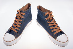 Denim sneakers Stock Image