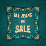 Denim square patch Royalty Free Stock Image