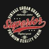 Denim supérieur, graphique urbain de marque de vintage pour le T-shirt illustration de vecteur