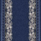 Denim texture with attached white lace ribbons. Beautiful frame for greeting card or cover. royalty free illustration