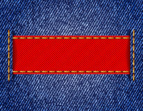 Denim texture with label ribbon. Vector Royalty Free Stock Photography