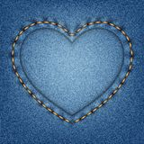 Denim texture with stitches in the shape of heart Royalty Free Stock Photos
