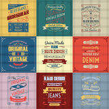 Denim typography background color set Stock Photo