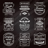 Denim typography chalkboard emblems set Royalty Free Stock Photography
