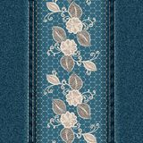 Denim vertical background with white lace ribbon. Royalty Free Stock Photography