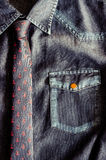 Denim vintage shirt with nice tie Stock Images