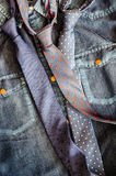 Denim vintage shirt with three ties Royalty Free Stock Photos