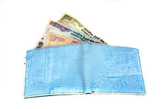 Denim Wallet. A wallet made of blue colored denim loaded with Indian currency notes Stock Images