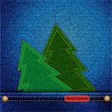 Denim-Weihnachtsbäume in der Tasche Stockfotos