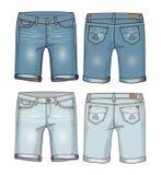 Denim women`s knee length shorts Royalty Free Stock Images