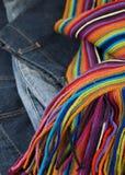 Denim and woollen scarf winter fashion Stock Photography