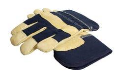 Denim Work Gloves royalty free stock photography