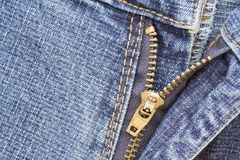 Denim Zip. A macro shot of the zip on some denim jeans Royalty Free Stock Photography