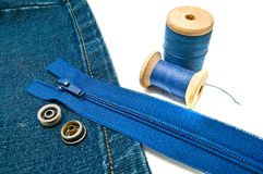 Denim with zipper and buttons Royalty Free Stock Images