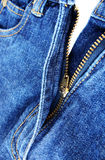 Denim zipper close up Stock Images