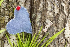 Denimherz auf einer Baumrinde Stockfotografie