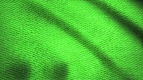 Denimstof het geweven groene fladderen Geanimeerde beweging van het canvas De golven van het materiaal stock video