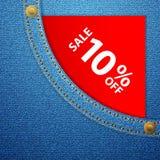Denimtasche und Verkauf zehn weg Stockfotografie